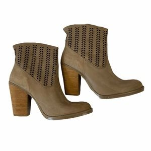 Coolway Tan Laser Cut Ankle Boots